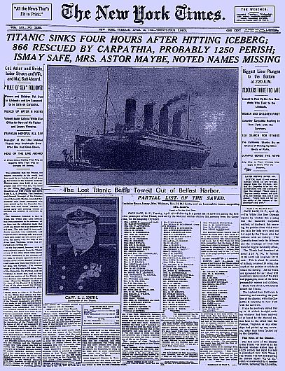 Famous titanic newspaper article from the new york times